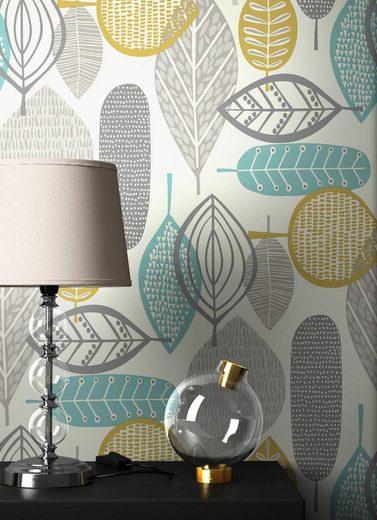 Newroom Papiertapete, Blumentapete Grau Gelb Palmen Wallpaper Floral Blumen Tapete Retro Pflanzen Wohnzimmer Schlafzimmer Büro Flur