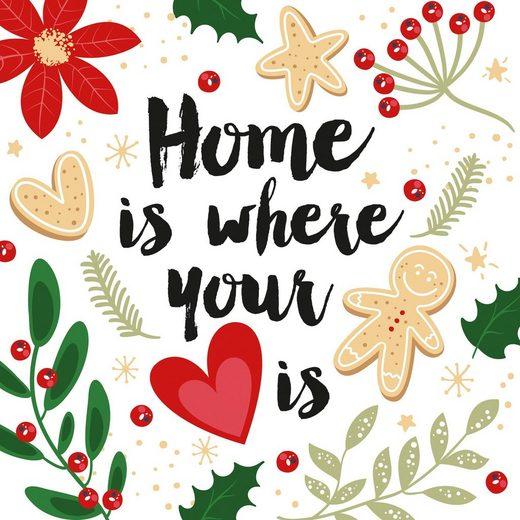 Paper+Design Papierserviette »Home is where your heart is«, (5 St), 33 cm x 33 cm