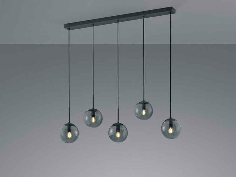 meineWunschleuchte LED Pendelleuchte, Lampenschirm Rauch-Glas Kugel, Balken-Pendel Anthrazit, Designer Lampe mehrflammig, Wohnzimmer Esszimmer Lampe hängend