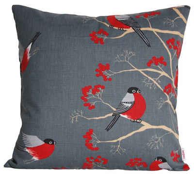 Kissenbezug »Beeren Vögel«, beties, Kissenhülle ca. 40x40 cm in interessanter Größenauswahl hochwertig & angenehm 100% Baumwolle Farbe (Stone)