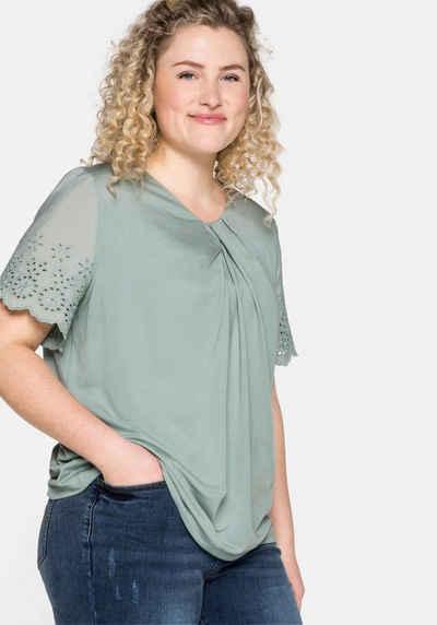 Sheego T-Shirt mit Flügelärmeln und Knotendetail