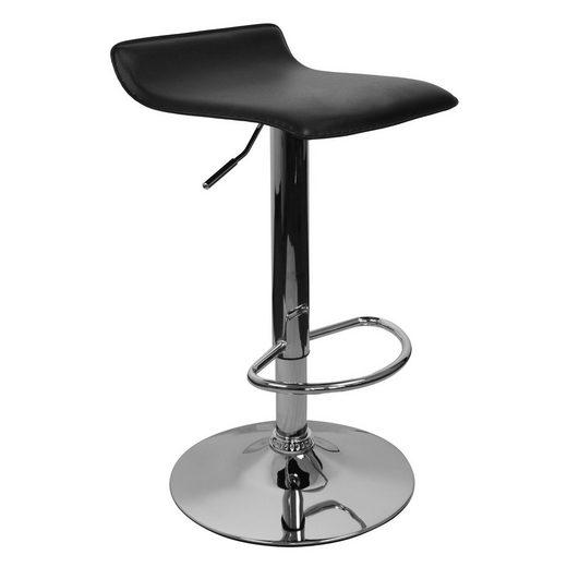 Amstyle Barhocker »SPM2.130«, Barhocker IBIZA Hocker Bezug Kunstleder schwarz höhenverstellbar Design Barstuhl ohne Rückenlehne Chrom 110kg