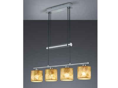 meineWunschleuchte LED Pendelleuchte, dimmbar stufenlos höhenverstellbar, JoJo, Balken Pendel Designer Lampen-Schirme Stoff Gold, 4 flammig, Wohnzimmer Esszimmer Lampen hängend
