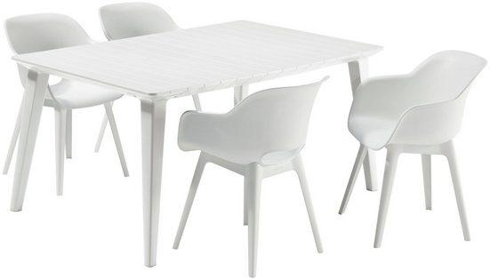 BEST Gartenmöbelset »Split«, 4 Sessel, Tisch 157x98 cm