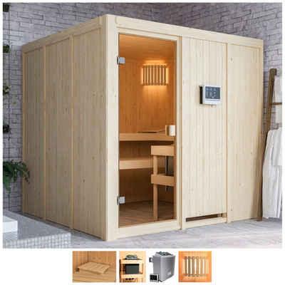 Karibu Sauna »Omari«, BxTxH: 196 x 196 x 198 cm, 68 mm, 9-kW-Ofen mit ext. Steuerung