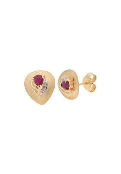 JuwelmaLux Paar Ohrstecker »Ohrstecker Rotgold mit Diamant(en) und Rubin« (2-tlg), Damen Ohrstecker Rotgold 585/000, inkl. Schmuckschachtel