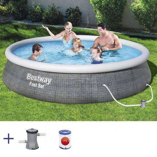 BESTWAY Pool »BESTWAY Fast Set Pool Swimmingpool Rund Rattan Optik mit Filterpumpe 396x84cm«