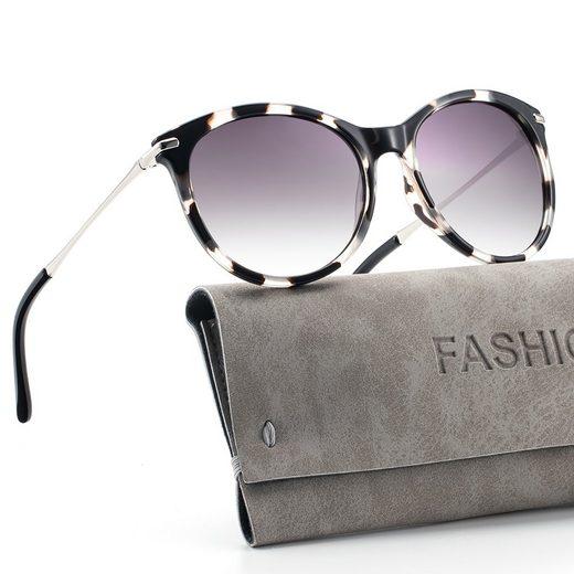 GlobaLink Sonnenbrille »GlobaLink YF04« Sonnenbrille für Damen Fashion Classic Round Aviator Übergroßer, verspiegelter UV 400-Schutz