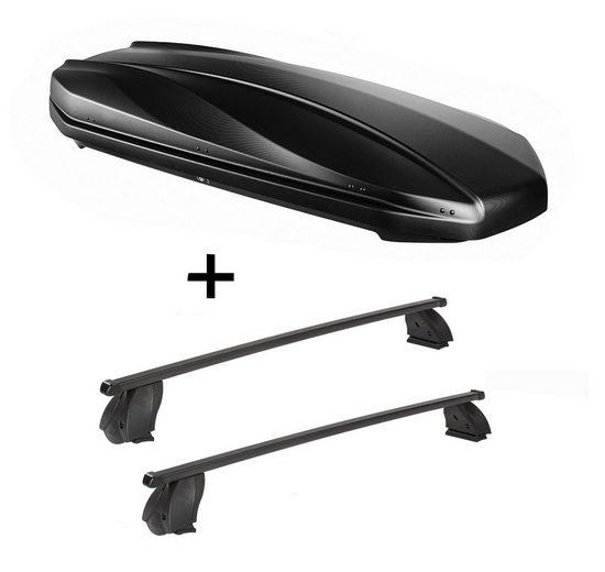 VDP Fahrradträger, DACHBOX STRIKE 440 Liter schwarz matt + Dachträger K1 MEDIUM kompatibel mit Citroen Nemo ab 08