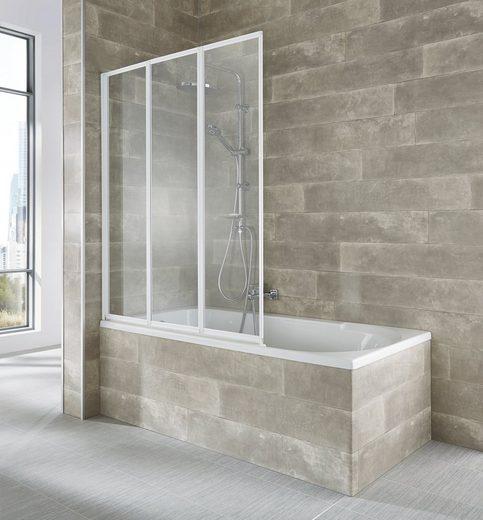 welltime Badewannenaufsatz »Nassau«, Einscheibensicherheitsglas, (3 tlg), weiß