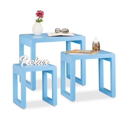 relaxdays Satztisch »Satztisch 3er Set in vielen Farben«