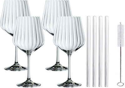 Nachtmann Weinglas »Tasted Good«, Kristallglas, (4x Gin&Tonic Glas, 4x Glashalm, 1x Reinigungsbürste), 640 ml