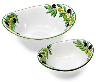 Lashuma Frühstücks-Set »Olive« (2-tlg), Keramik, Servierschalen Set, Salatschüsseln 20x17 cm und 25x21 cm