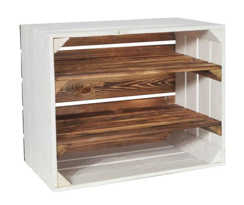 CHICCIE Holzkiste »2x Langes Regal Geflammt Weiß 50x40x30cm Kiste« (1 Stück)
