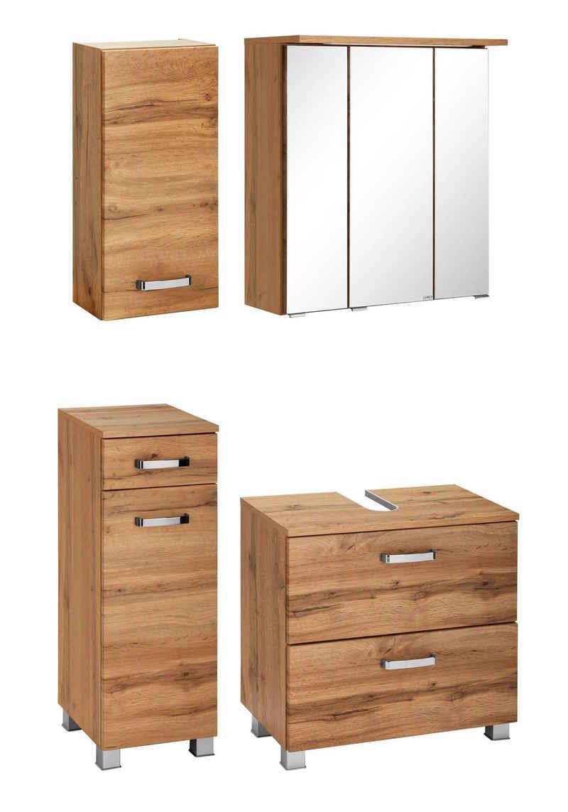 HELD MÖBEL Badmöbel-Set »Ravenna«, (4-St), Hängeschrank, Unterschrank, Spiegelschrank, Waschbeckenunterschrank
