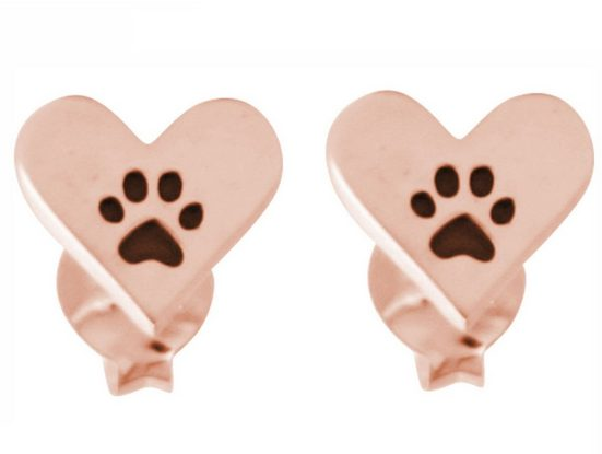 Gemshine Paar Ohrstecker »Herz mit Pfoten Tatzen: Hund, Katze oder Haustier«, 925 Silber