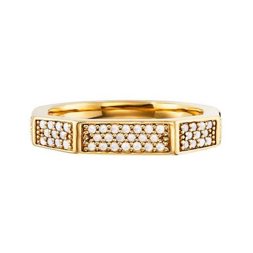 CAÏ Ring »925/- Sterling Silber vergoldet Hexagon Kristalle«