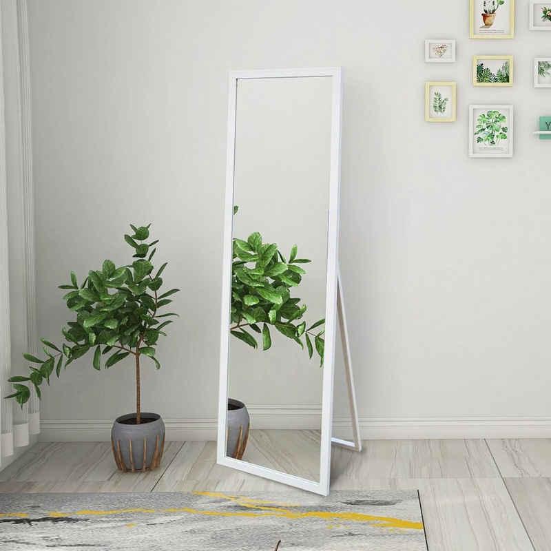SOFTWEARY Standspiegel »Ganzkörperspiegel mit Holzrahmen und Haken, HD Wandspiegel, Ankleidespiegel, kippbar, 140x50 cm«