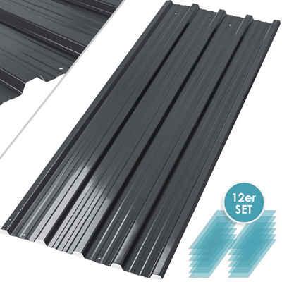 KESSER Gerätehaus, 12 x Dachblech Profilblech Trapezblech 129cm x 45cm = 7 m² -Dachblech für Gerätehaus, Dachplatten Verzinkter Stahl 0,25mm