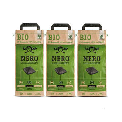 NERO Kohlekorb »BIO Grill Holzkohle Briketts - 3 x 2,5kg Sack - Garantiert ohne Tropenholz - Holz aus Deutschland«