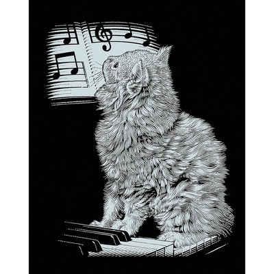 MAMMUT Spiel und Geschenk Bild »Scraper Silber-Kratzbild Katze am Piano«