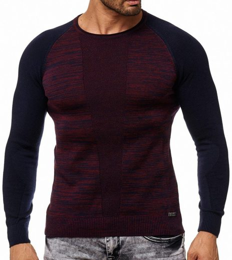 Rusty Neal Rundhalspullover »RUSTY NEAL Sweater eng anliegendes Herren Sweatshirt Rundhals Pullover Freizeit-Sweater Rot-Blau«