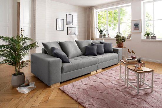 Home affaire Big-Sofa »Valena«, mit Steppung im Sitzbereich, Federkern und Zierkissen