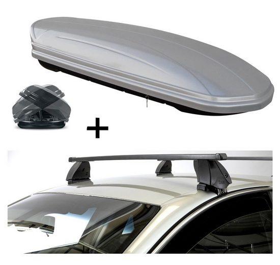VDP Fahrradträger, Dachbox VDPMAA580 580 Liter Duo beidseitig aufklappbar silber + Dachträger K1 MEDIUM kompatibel mit Opel Ampera (4Türer) ab 12
