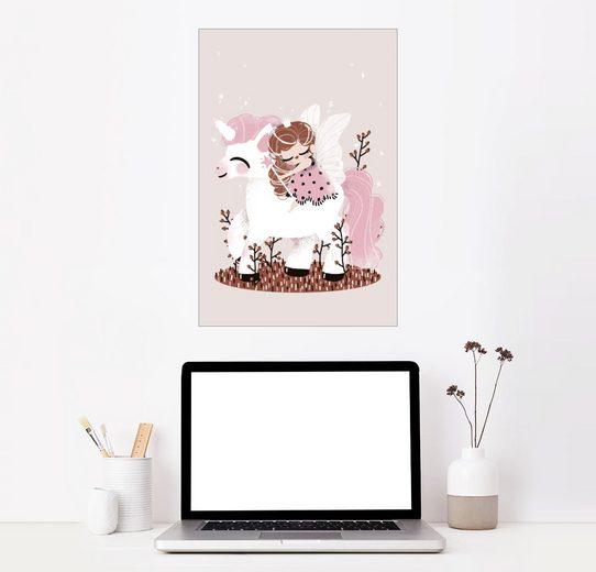 Posterlounge Wandbild, Premium-Poster Die Fee und das Einhorn