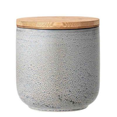 Bloomingville Aufbewahrungsdose »Kendra Gefäß mit Deckel« (Gefäß mit Deckel), Bambusdeckel, 1800 ml, Aufbewahrung, Dekoration, Keramik, Wabi-Sabi Look