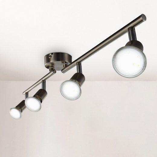 B.K.Licht LED Deckenspots, LED Deckenleuchte Strahler schwenkbar Inkl. 4 x 3W Leuchtmittel GU10 Spots Wohnzimmer Flur