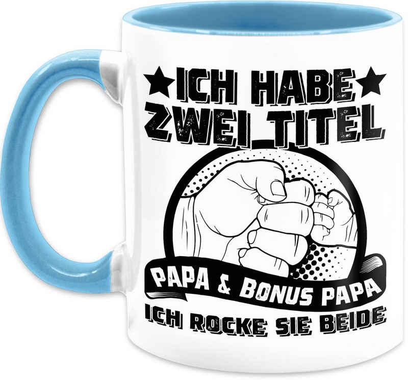 Shirtracer Tasse »Ich habe zwei Titel - Papa und Bonus Papa - ich rocke sie beide - schwarz - Vatertagsgeschenk Tasse - Tasse zweifarbig«, Keramik