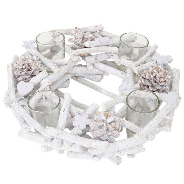MCW Adventskranz »T784«  Mit 4 Teelichtgläsern  Aufwendig geschmückt   Weihnachten > Adventskranz und Weinachtsleuchter   MCW