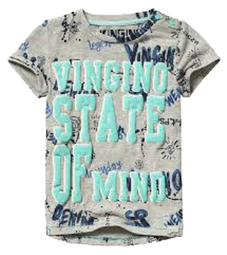 Vingino T-Shirt »VINGINO Rundhals-Shirt cooles Kinder T-Shirt mit auffallendem Graffiti Aufdruck Freizeit-Shirt Grau«