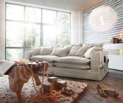 DELIFE Big-Sofa »Noelia«, Noelia Elfenbeinfarben 240x145 cm mit Kissen Hussensofa Sofa Couch