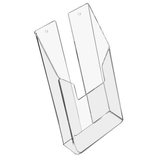 HMF Zeitungsständer »Prospekthalter 4684« (1 Stück), Wand Prospekthalter aus Acryl, DIN A6 Hochformat