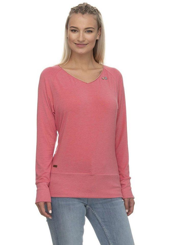 ragwear -  Langarmshirt »BERNICE« mit Herz-Zierknöpfen in Holzoptik