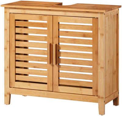 welltime Waschbeckenunterschrank »Bambus« Badmöbel mit Siphonausschnitt, Breite 67 cm