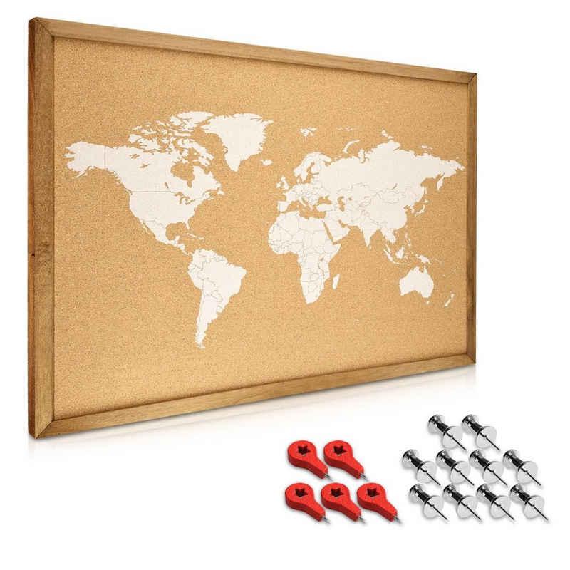Navaris Pinnwand, Korkwand Memoboard Tafel - 70x50cm Pin Board Korktafel mit Holz Rahmen Stecknadeln Fahnen Montageset - World Map Pinnwand
