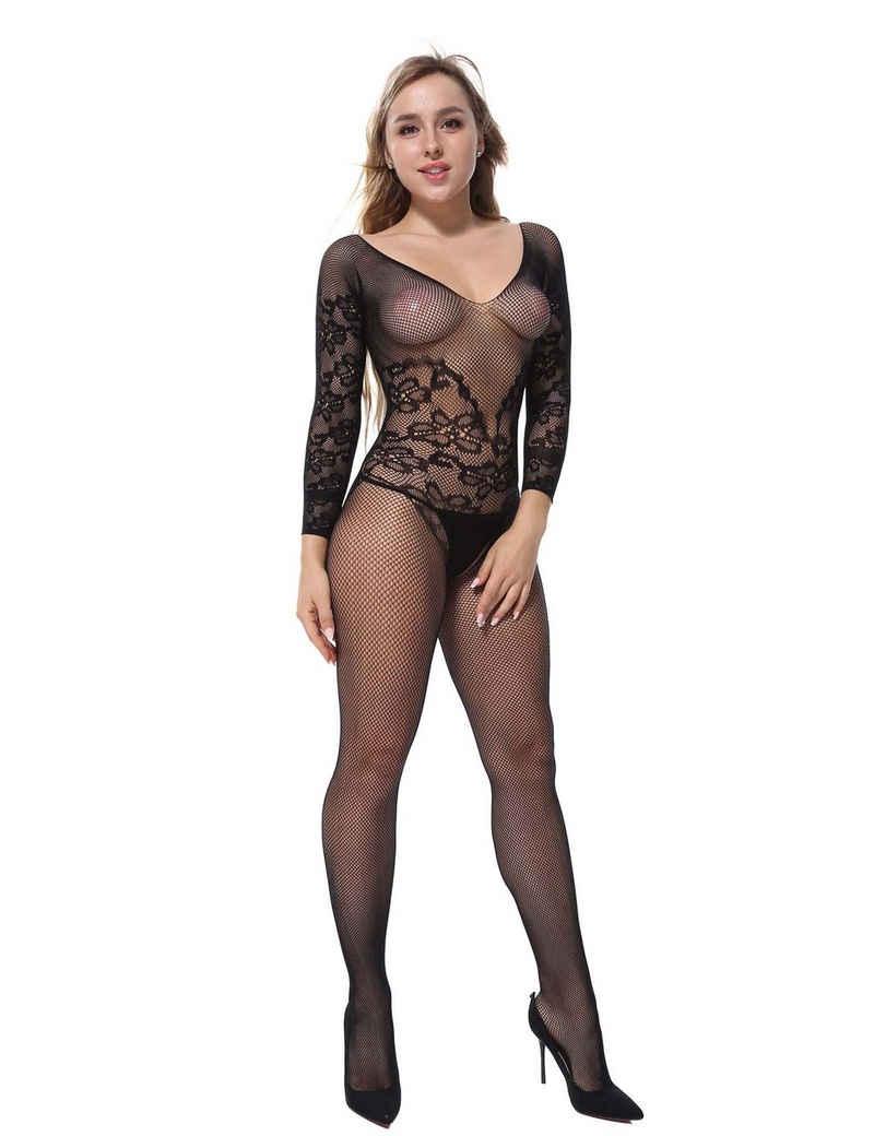 RAIKOU Bodystocking-Ouvert »RAIKOU Sexy Schwarze Netzstrümpfe, Fischnetz Body Strumpf Bodysuit Dessous Catsuit Reizwäsche Uniformen, One Size«