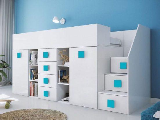 Feldmann-Wohnen Hochbett »TOLEDO 3« (Etagenbett mit Schreibtisch + Kleiderschrank) Farbe wählbar - Treppe rechts