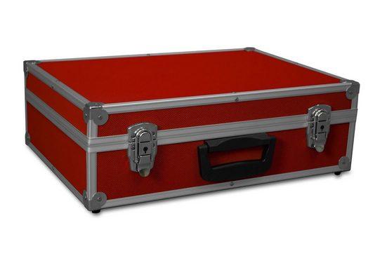 GORANDO Werkzeugkoffer »Transport-Koffer rot mit Aluminiumrahmen 440x300x130mm Alukoffer - Würfelschaum« (1 Stück)