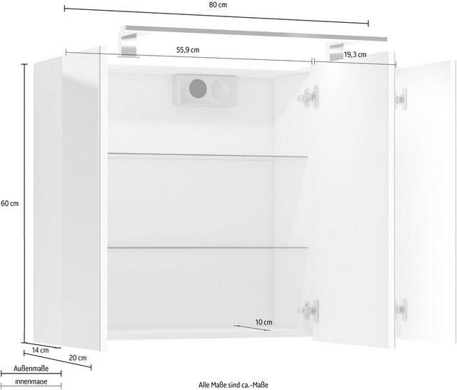 Spiegel - Homexperts Spiegelschrank »Salsa« Breite 80 cm, mit LED Beleuchtung Schalter Steckdosenbox  - Onlineshop OTTO
