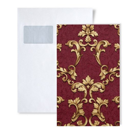 Edem Prägetapete »S-9085-25«, geblümt, schimmernd, ornamental, Barock-Style, (1 Musterblatt, ca. A5-A4), rot, bordeaux-violett, gold