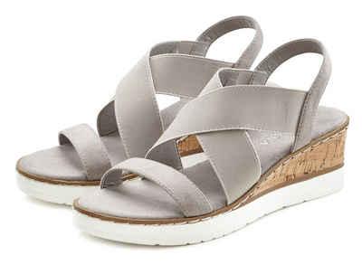LASCANA Sandalette mit Keilabsatz und elastischen Riemen