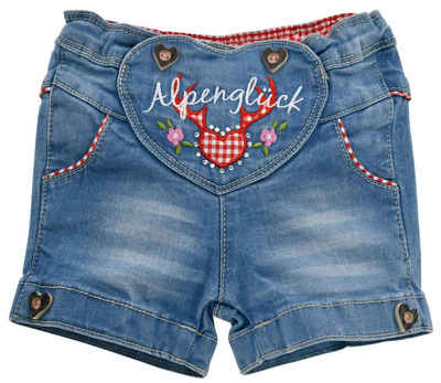 "BONDI Jeansshorts »Mädchen Jeans Hose ""Alpenglück"" 86278 - Kurze Kinder Trachtenhose - Blau Rot mit Stickereien«"