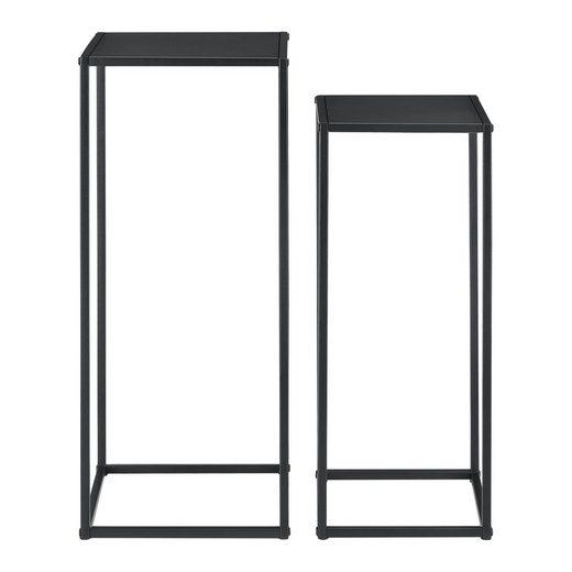 en.casa Beistelltisch (2-St., 2er Set), »Farsund« Säulentisch Pflanzenständer schwarz