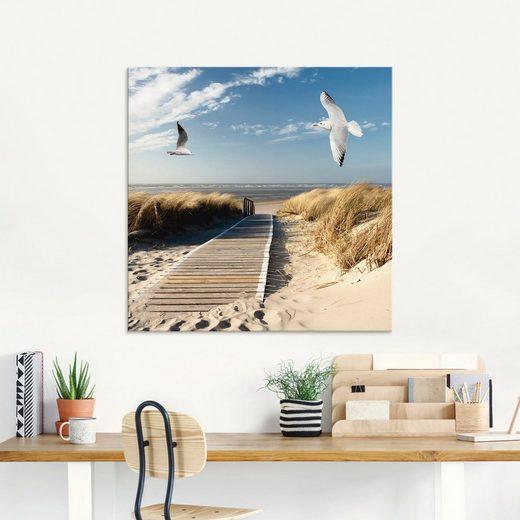 Artland Glasbild »Nordseestrand auf Langeoog mit Möwen«, Strand (1 Stück)
