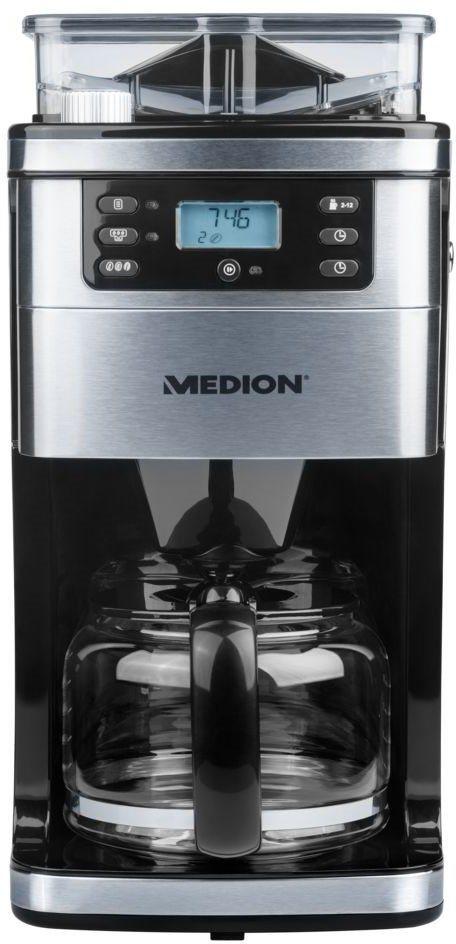medion kaffeemaschine mit mahlwerk md 15486 50060877 1 5l kaffeekanne permanentfilter