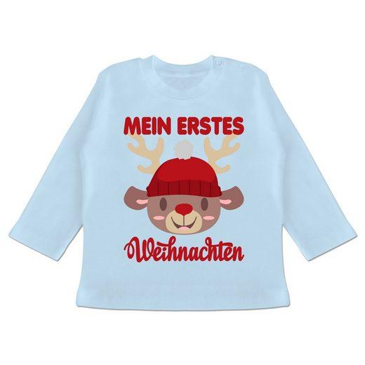 Shirtracer T-Shirt »Mein erstes Weihnachten mit Rentier - Weihnachten Baby - Baby T-Shirt langarm - T-Shirts« mein erstes weihnachten langarm